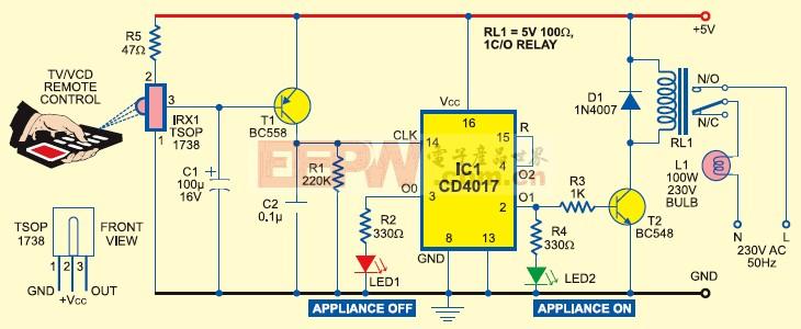 用普通电视遥控器控制其他家电器灯泡,电扇等开关的电路图