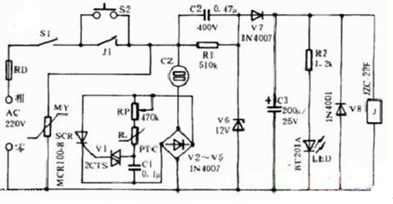 电热毯自动保护恒温器电路图