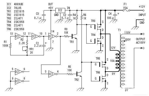 入电压为12伏直流电.输出电压是100V的交流电.但是,输入和输出图片