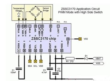 一款ZSSC3170汽车传感器信号调理电路图