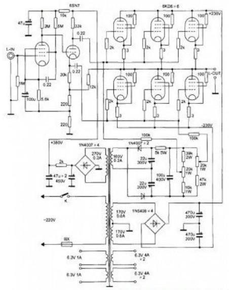 【图】6kd6的otl功放电路分立元件放大