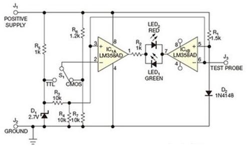 IC1B的的逻辑探头电路图