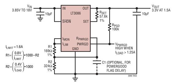 采用LT3086的负载电流监视电路图
