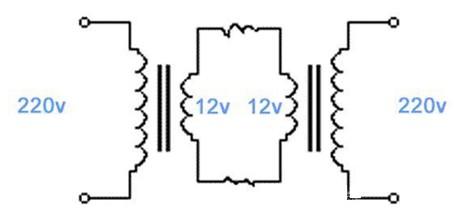 两个普通降压变压器构成的隔离电源电路图