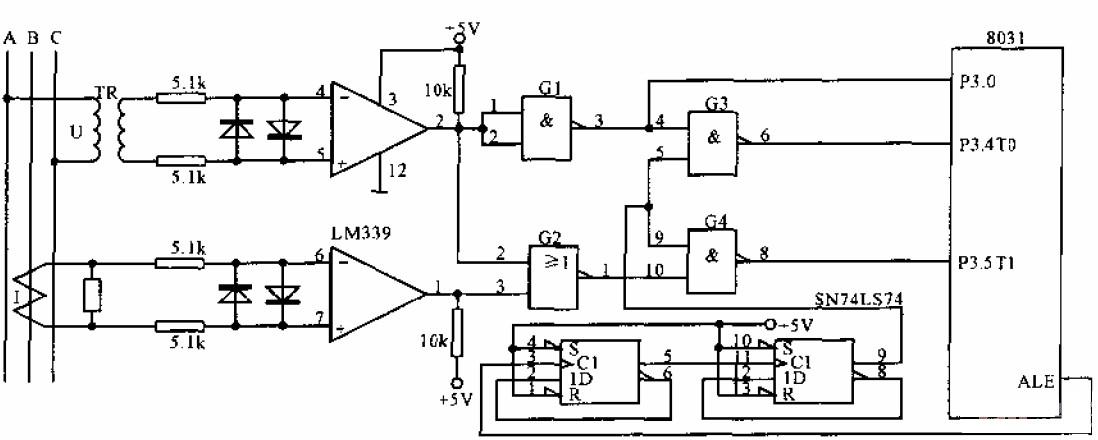 简单的三相电网测量接口电路图