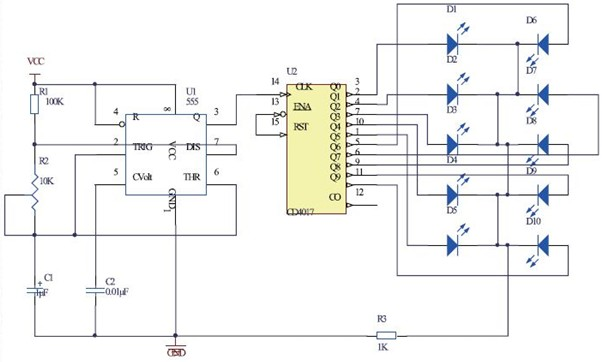 一款实用的LED流水灯电路图