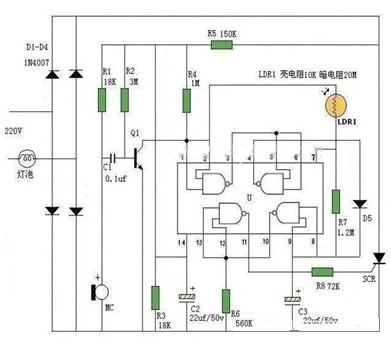 一款颇具创意的声控灯电路图