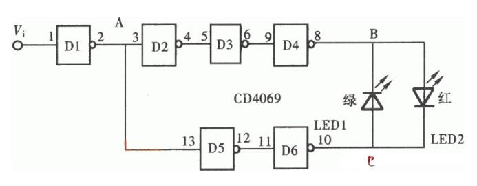 简单易制发光型逻辑检测笔电路图