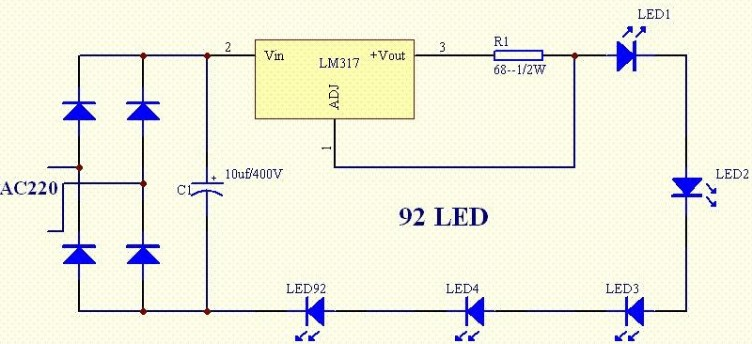利用LM317的LED恒流源电路图