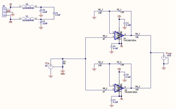 基于THS3091大信号应用参考设计电路图