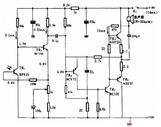 一款可见光通信接收电路图