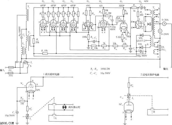 2kVA电子管交流稳压器原理电路图