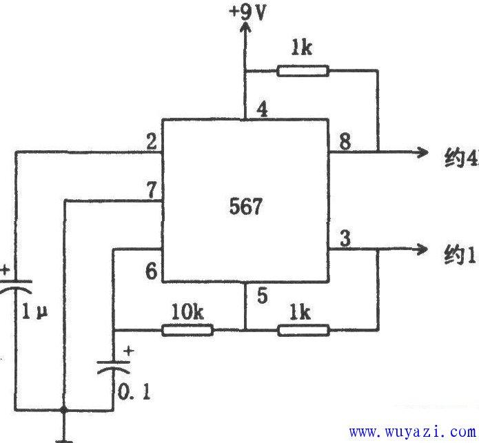 音频译码器构成的双频振荡电路图