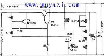100V/1A稳压电路框图