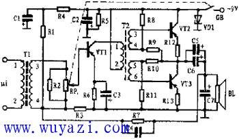 小功率音频信号放大器原理电路图