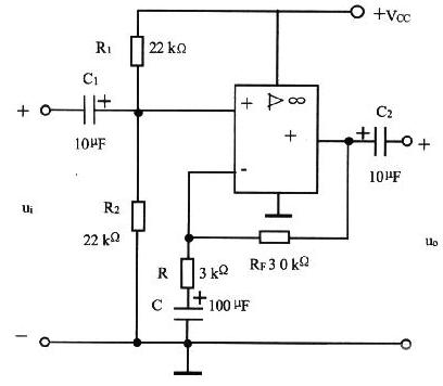 电源同相输入式交流放大电路图