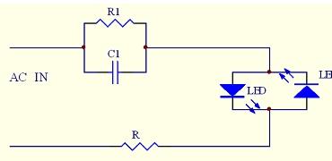 简易电容降压驱动LED电路