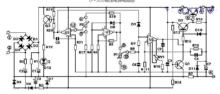 0~30V稳压电源电路图