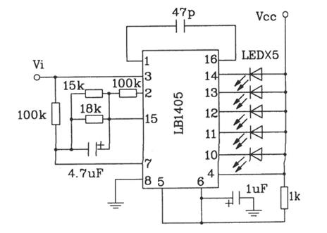 五位LED电平指示驱动集成电路典型电路