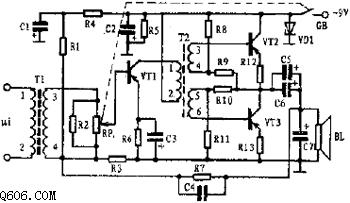 小功率音频信号放大器工作原理电路图