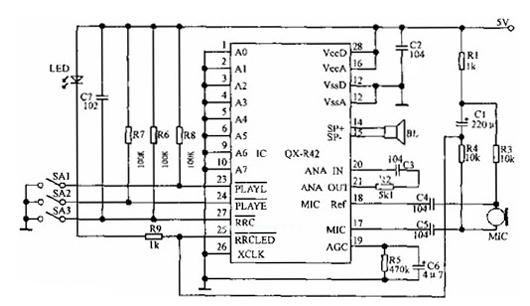 单片全固态录/放音机电路图