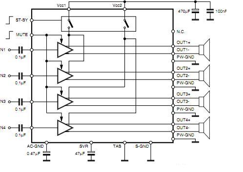 基于TDA7388 IC四声道系列功放电路图