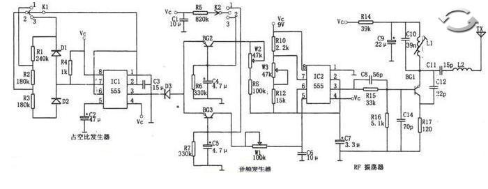 用NE555和LM909制作的多功能遥控电路图