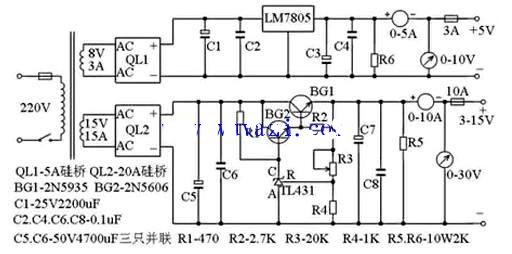 10A3~15V稳压可调电源电路图