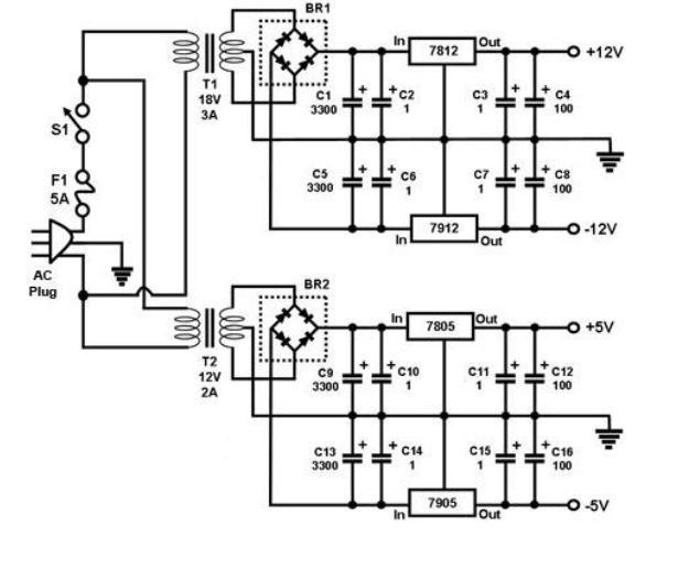 三端稳压器的多路输出直流稳压电源电路图