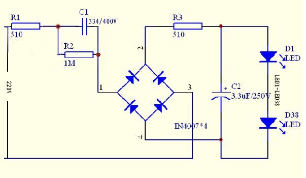 38粒高亮度LED节能灯设计电路图
