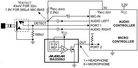 适于耳机检测的比较器电路图