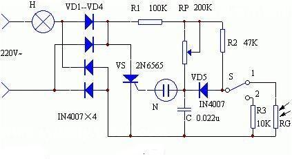光敏自动调光台灯电路图