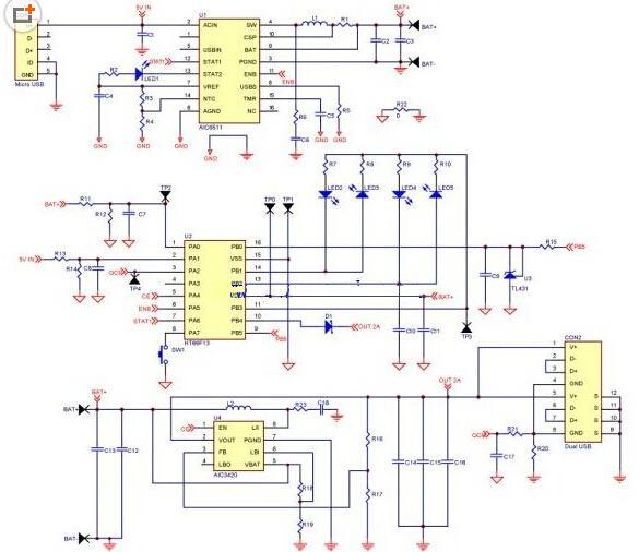 【图】移动电源电路设计原理图充电电路