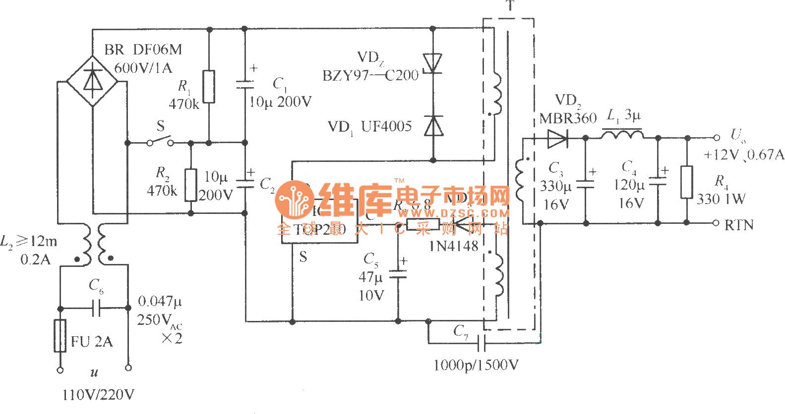采用110v(倍压)/220v交流电压输入的开关稳压电源
