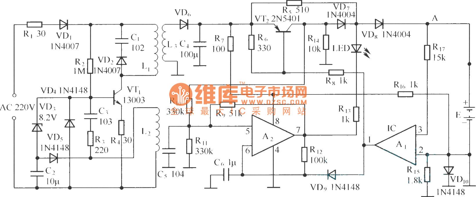通用手机电池充电器电路(bq2057)