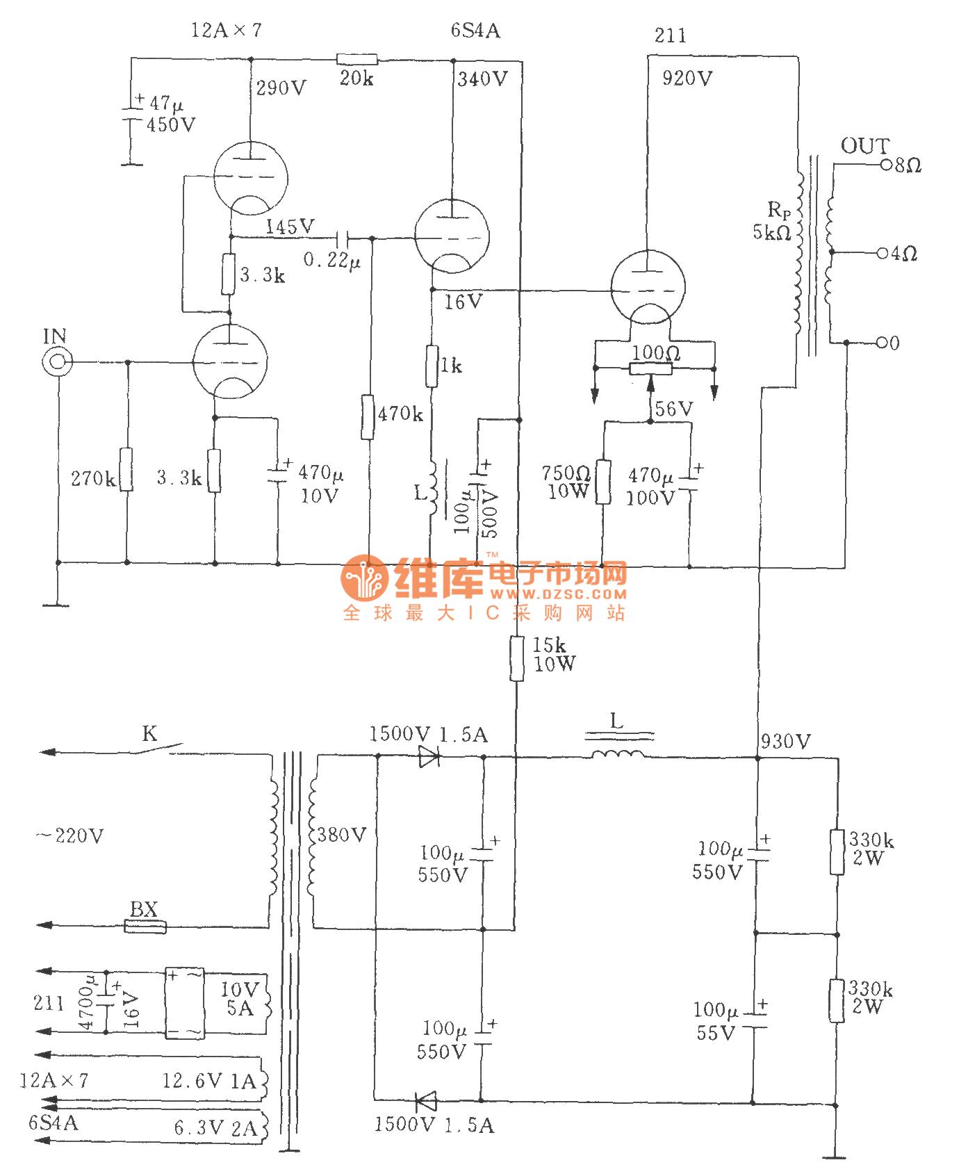 高功率电子管单端A类211功放电子管功放 电路图 捷配电子市场网图片