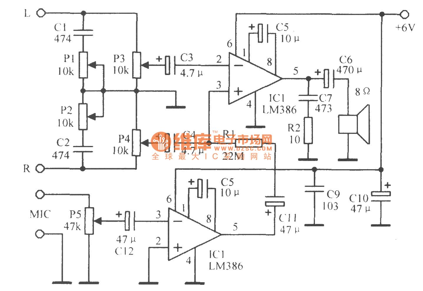 模拟卡拉0k伴唱放大电路