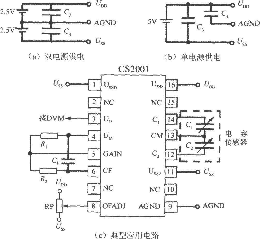 2.5V双电源的接线图,(b)图为采用+5V单电源的接线图.C3、C4图片
