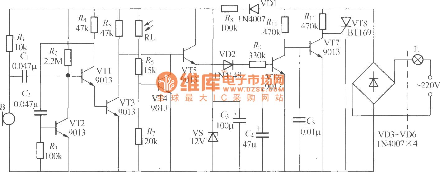 【图】分立元件声光控楼梯延迟开关电路(10)灯光控制