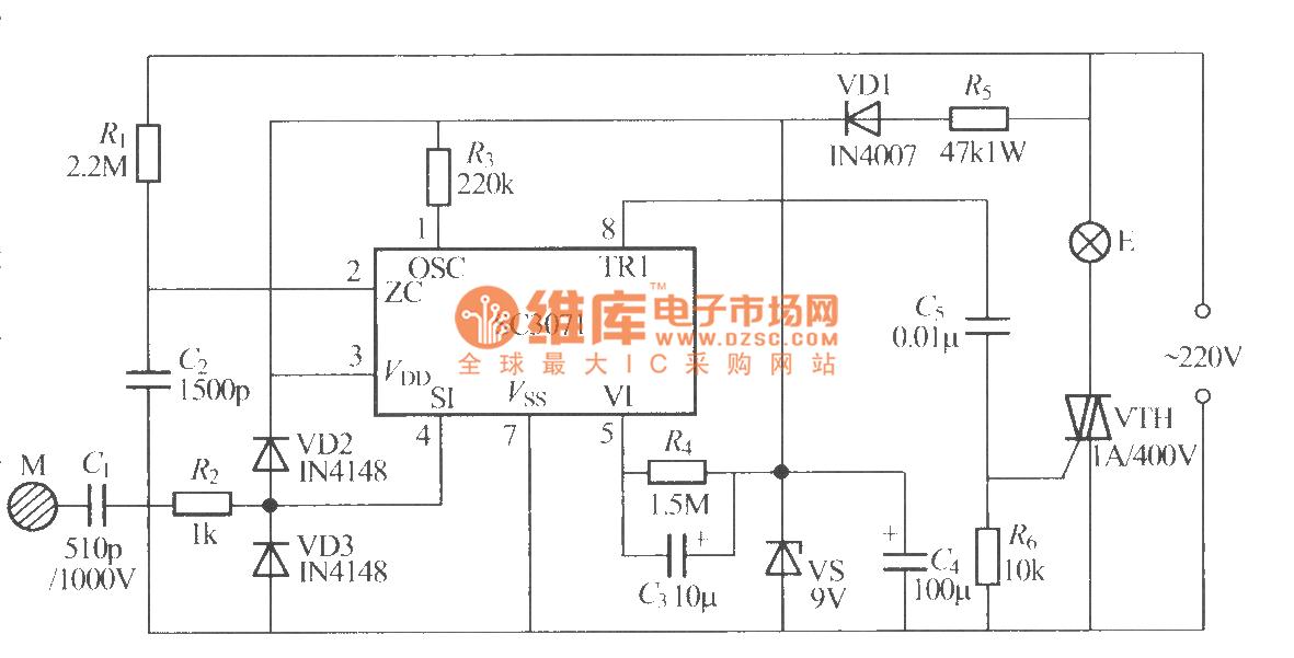所示是采用sc3071集成电路制作的触摸式步进调光台灯