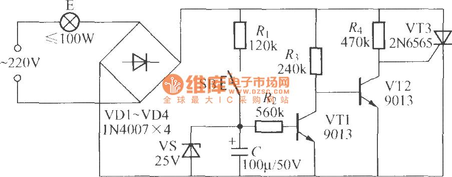 灯光控制 >> 实用延迟灯电路(2)  相关元件pdf下载: 2n6565   9013