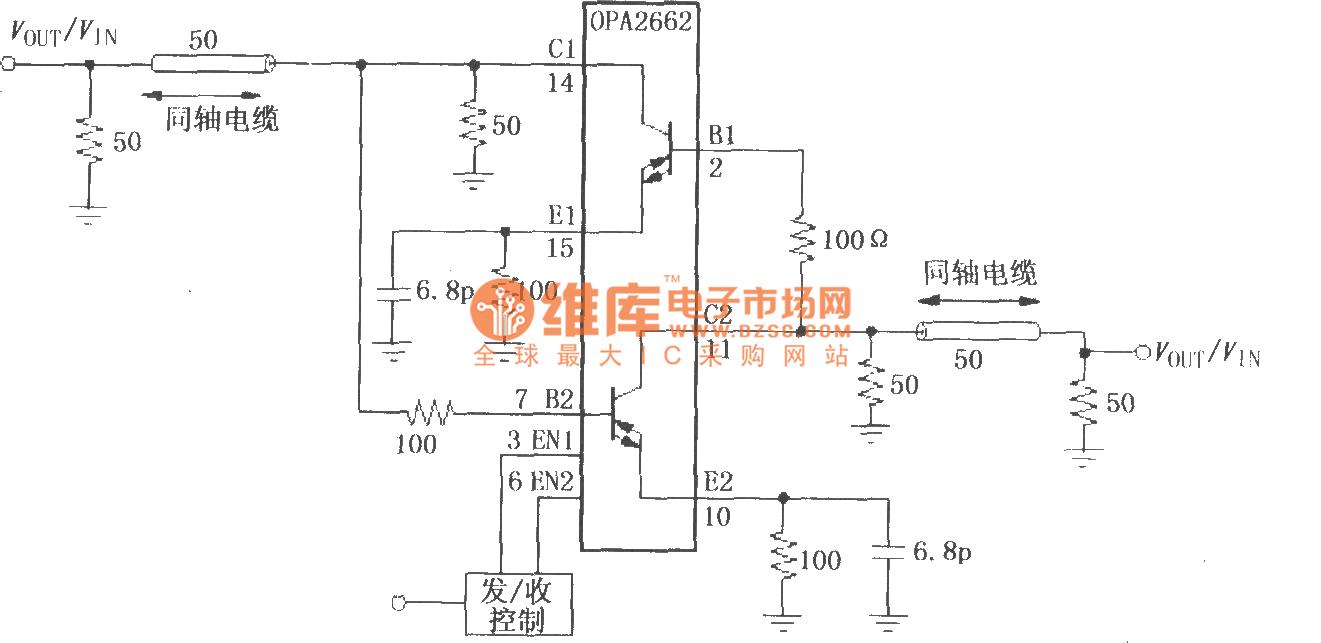 相关元件PDF下载: OPA2662  如图所示为由OPA2662构成的双向线驱动电路。该电路利用OPA2662内部双路OTA构成两个通道电流输出驱动电路,其中一路作为发送驱动器,另一路作为接收驱动器,发送与接收切换由使能端EN控制。当3脚(EN1)为高电平(6脚EN2此时为低电平)时,电路处于接收状态,输入信号通过电缆进入2脚,经过放大后由14脚输出;当6脚为高电平(3脚EN1此时为低电平)时,电路处于发送状态,输入信号通过电缆进入7脚,经过放大后由11脚输出。