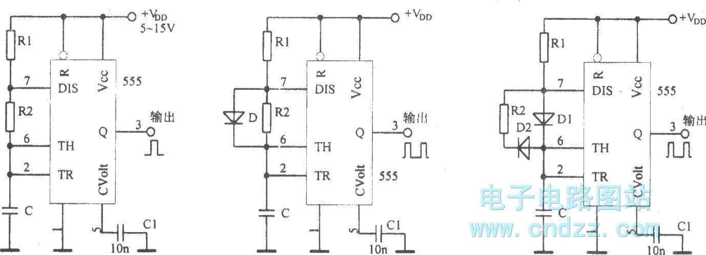 【图】采用集成电路555构成多谐振荡器多谐振荡产生