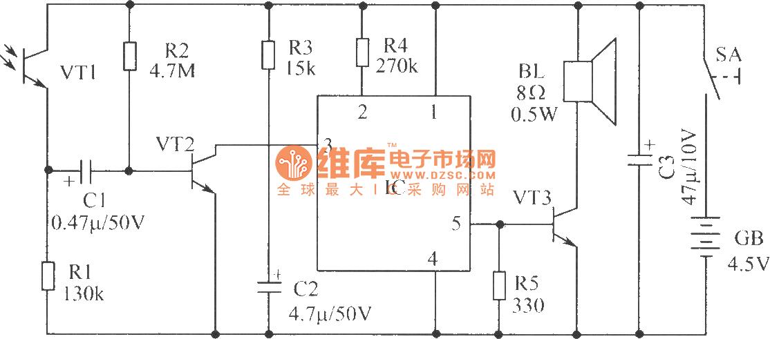 【图】光敏三极管控制的语言电路光敏二极管
