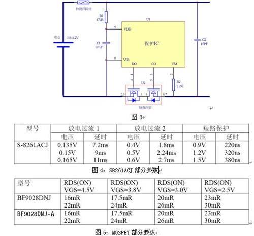 贴片保险丝在单节锂电池上的应用     举例1:某单节锂电池保护板电路