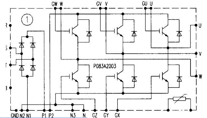 p083a2003通用变频器功率模块的内部结构和引脚电路