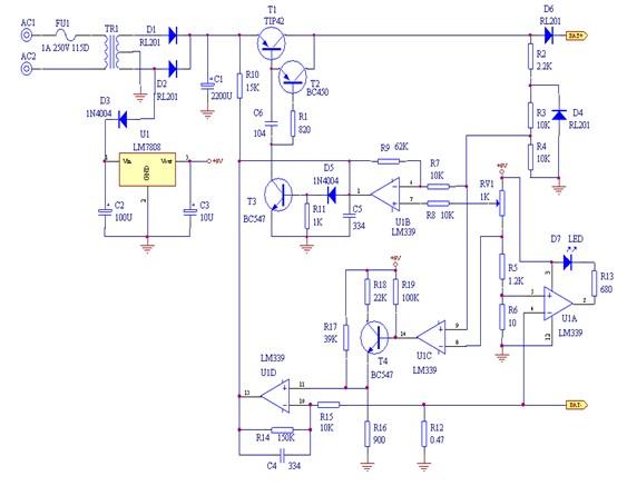 铅酸蓄电池充电器电路原理图