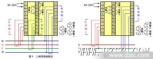 尺寸规格: 端子接线:       1,三相应用接线图          三相四线制接