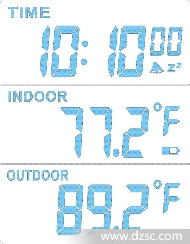 功能说明: 1、四个按键:MODE、AL、MAX/MIN、SNOOZE。 2、12/24小时选择。 3、室内外双温度显示:室内温度-10~+60;室外温度-50~+70。 4、最大最小温度记忆。 5、闹钟功能:万年历闹钟、小睡。 6、5分钟贪睡。