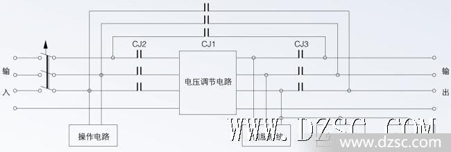 三相大功率补偿式电力稳压器原理接线框图